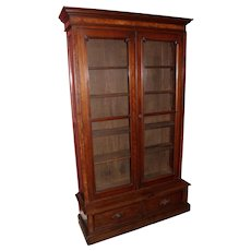 Victorian Walnut Two Door Bookcase with Two Lower Drawers