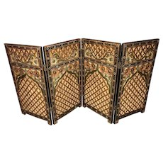 Indian Polychrome Pierce Carved Diminutive Privacy Four Panel Table Screen