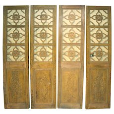 Antique Chinese Painted Four Panel Screen or Doors, Four Lucky Keys, circa 1916