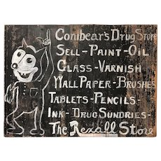 Conibear's Rexall Drug Store Folk Art Hand Painted Wooden Advertising Sign