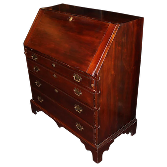 18th c Chippendale Mahogany Slant Front Desk With Secret Compartments