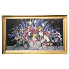 Dorothea M. Litzinger Large Oil Painting Still Life with Flowers