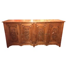 French Style Fruitwood Credenza or Server Sideboard with Ribbon Carved Doors