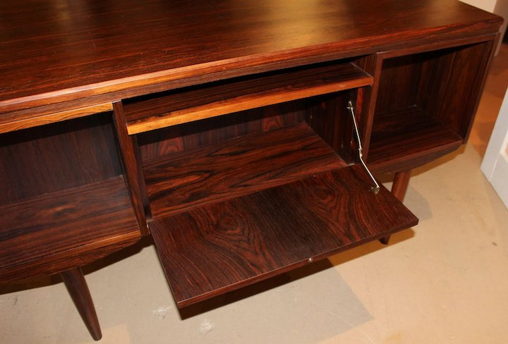 Danish Mid Century Modern Brazilian Rosewood Executive Desk With Bar