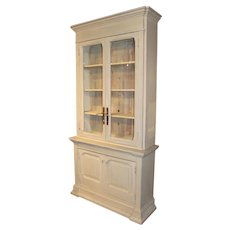 Gray Painted Victorian Style Two Part Cabinet with 19th Century Doors