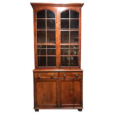 Grand 19th Century English Two-Piece Mahogany Stepback Bookcase or China Cabinet