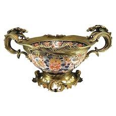 20th c Rococo Centerpiece Imari Type Bowl with Ormolu Mounts
