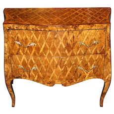 Italian Serpentine Inlaid Two-Drawer Fruitwood Parquetry Commode, circa 1800