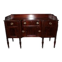 Early 19th Century Boston Mahogany Sheraton Sideboard of Excellent Proportion