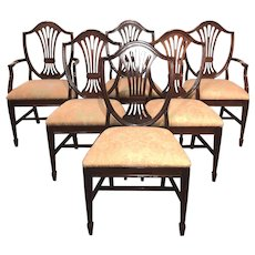 Set of Six Mahogany Shield Back Upholstered Dining Chairs, Statesville Chair Co, NC