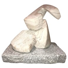 Modernist Abstract Carved Marble Sculpture on Granite Plinth