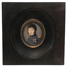 Edouard Joseph Corbet Portrait Miniature of a Man in Military Dress