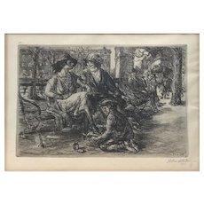 John French Sloan Graphite Signed Engraving - Shine, Washington Square
