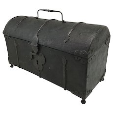 18th / 19th c Diminutive Spanish Wood, Leather & Iron Work Trunk or Document Box