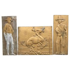 20th Century Large Carved Wooden Folk Art Painted Cowboy Triptych