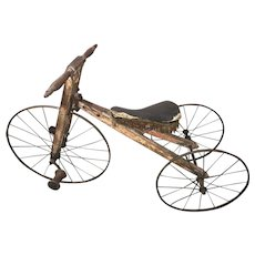 19th c Wooden Child's Tricycle with Metal Wheel Rims