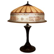 Art Deco Table Lamp with Reverse Painted Pairpoint Berkeley Shade