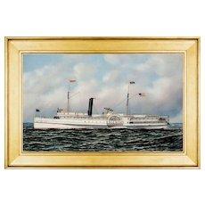 Antonio Jacobsen Oil Painting, Paddlewheel Steamer Edgemont, 1905