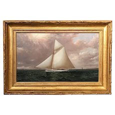 James E. Buttersworth Marine Oil Painting, A Gaff Rigged Racing Cutter, c. 1893