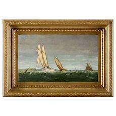 George Curtis Marine Oil Painting, Sailing Off The Coast, 1878