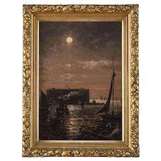 Granville Perkins Marine Oil Painting, Moonlight over New York Harbor, 1895