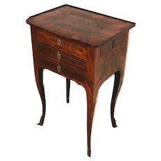 19th c French Diminutive Rosewood Work Table with Decorative Inlay