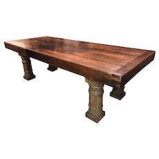 19th Century Continental Oak Refectory Dining Table with Turned Leg Base
