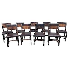 Set of Nine 17th or 18th Century Continental Dining Chairs with Leather Backs
