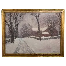 Robert Emmett Owen Winter Landscape Oil Painting, Snowy Road
