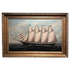 Solon Francis Monticello Badger Ship Oil Painting, Schooner Thomas S. Dennison 1901