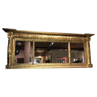 Sheraton Late Federal Over Mantle Giltwood Mirror
