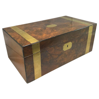 19th c English Burled Walnut Lap Desk with Brass Banding