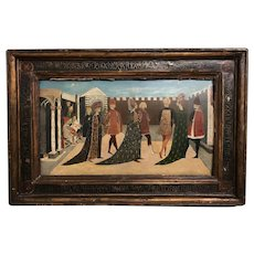 17th / 18th c European Oil Painting of a Wedding Processional in Sgraffito Frame