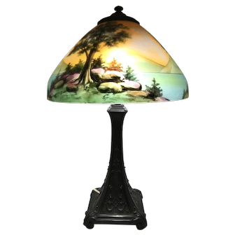 Arts & Crafts Style Lamp with Reverse Painted Scenic Shade, Possibly Jefferson