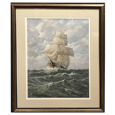 Gilbert Tucker Margeson Gouache Marine Painting of a Ship in Full Sail