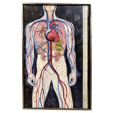 Modernist Anatomy Oil Painting with Pacemaker by Johnson, #2, #3422
