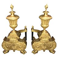 Pair of Nice Size French Gilt Urn Form Chenets or Andirons