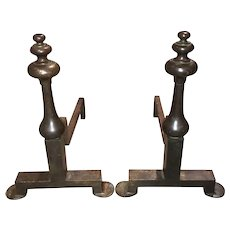 Pair of Fine Form Bronze Mid Century Andirons