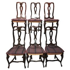 Set of Six Country Provincial Pierced Splat Rush Seat Chairs