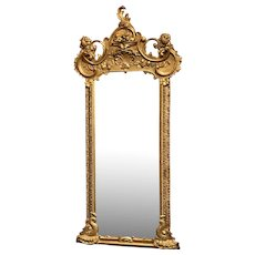 19th Century Rococo Giltwood Pier Mirror in Scroll and Dolphin Motif