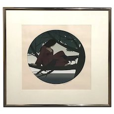 Will R. Barnet Limited Edition 145/150 Framed Print of a Girl with Birds , Circle II, 1980