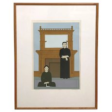 Will R. Barnet Limited Edition 81/225 Print of Two Female Figures, Reflections