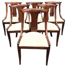 Baker Furniture Set of Six Upholstered Classical Dining Chairs