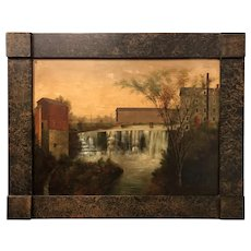 Louisa Jaret Atwater Mid 19th c Oil Painting Landscape, Honeoye Falls NY