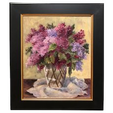 Sydney Thomas Still Life Oil Painting, Lilacs