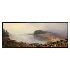 Sydney Thomas Coastal Oil Painting, Approaching Fog, Barred Island, Maine