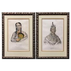 Pair of Hand Colored Prints of Native Americans - Rant Che Wai Me, Chono Ca Pe, 1838