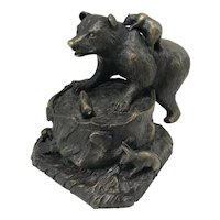 Barbara Faucher Cast Bronze Sculpture of a Bear & Cub