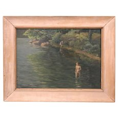 Robert Alden Reaser Impressionist Oil Painting of Bathers
