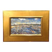 Stephen Motyka Modern Impressionist Coastal Oil Painting, Easton's Beach, Newport RI